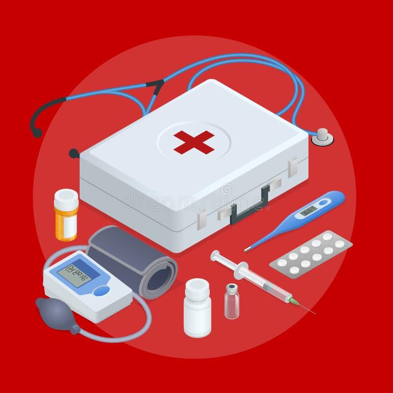Vlak concept online medische steun, familiegezondheidszorg, ziektekostenverzekering, apotheek, de medische diensten, laboratorium vector illustratie