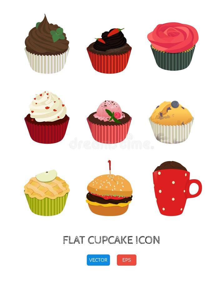 Vlak cupcakepictogram De vectorreeks van het toepassingsvoedsel De Pictogrammen van het voedsel Affiche met negen heerlijke desse royalty-vrije illustratie