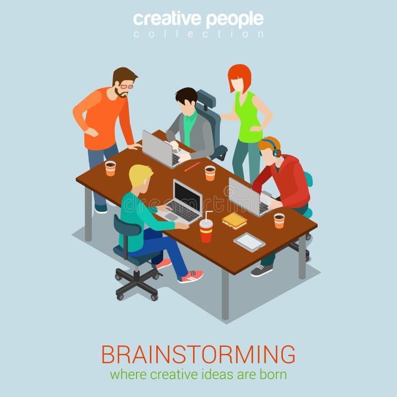 Vlak 3d het Web isometrisch infographic concept van brainstormingsmensen stock illustratie