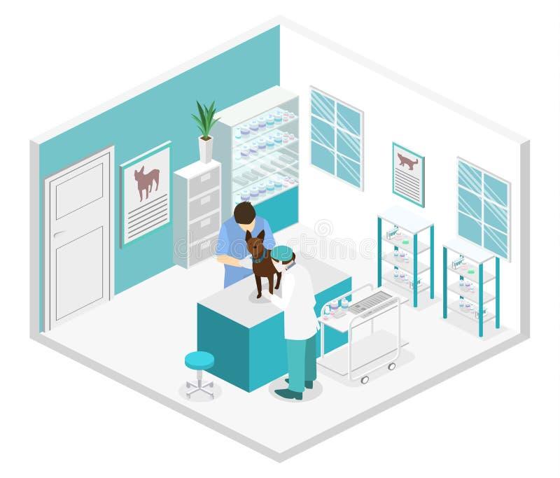 Vlak 3D illustratie Isometrisch binnenland van veterinaire kliniek royalty-vrije illustratie