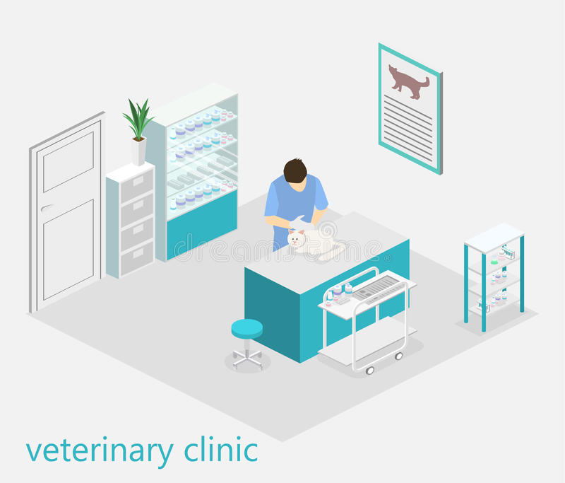 Vlak 3D illustratie Isometrisch binnenland van veterinaire kliniek stock illustratie
