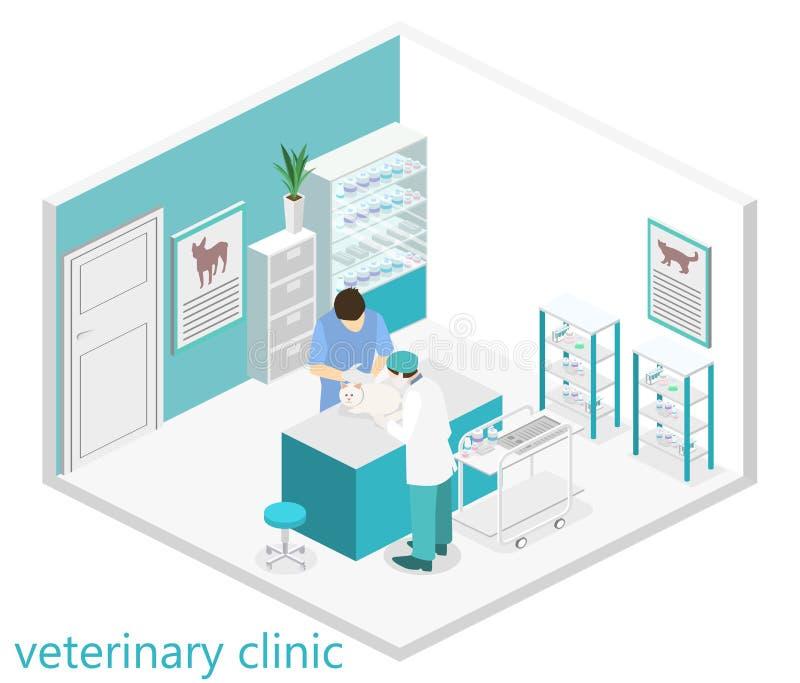 Vlak 3D illustratie Isometrisch binnenland van veterinaire kliniek vector illustratie