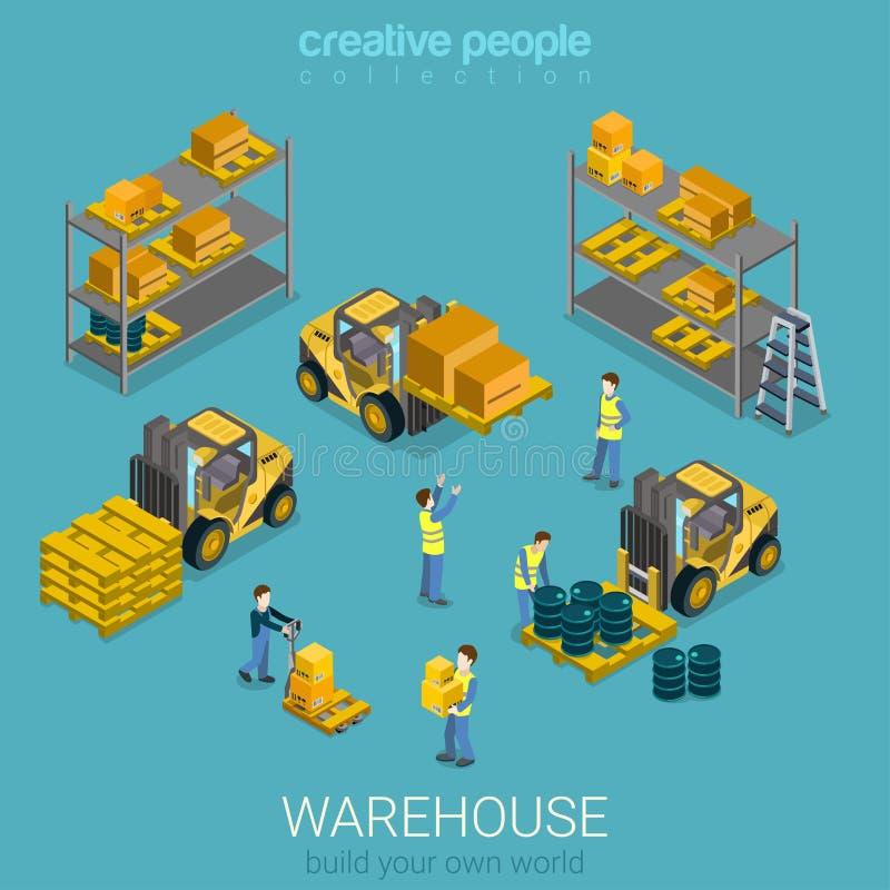 Vlak 3d isometrisch de opslag van de pakhuislevering de bouwbinnenland royalty-vrije illustratie