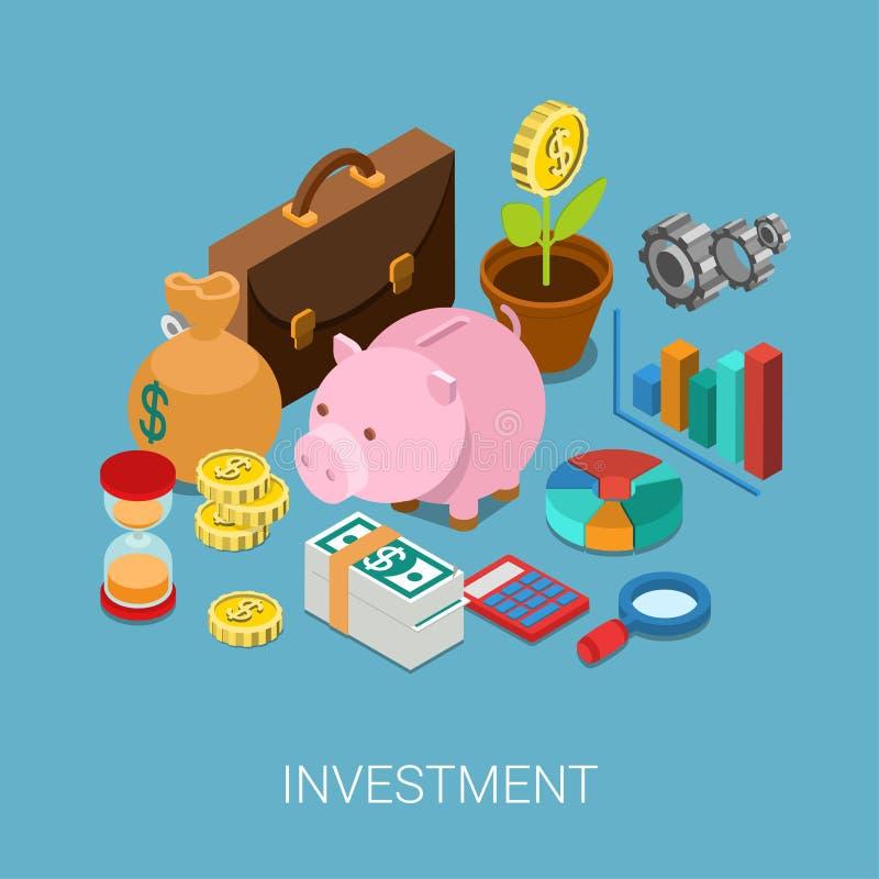 Vlak 3d isometrisch infographic de financiënweb van investeringsbesparingen
