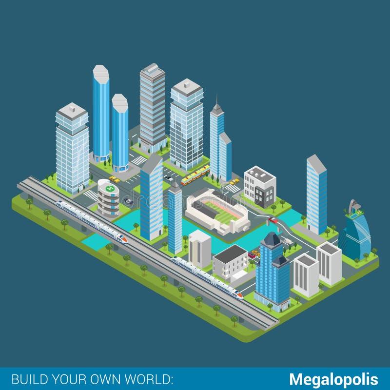 Vlak 3d isometrisch vector de wolkenkrabbersbureau van de megalopolisstad vector illustratie