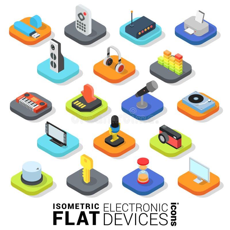 Vlak 3d isometrisch vector elektronisch apparaten mobiel app pictogram royalty-vrije illustratie
