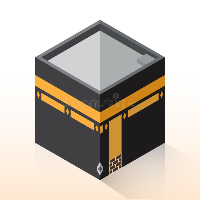 Vlak 3D Ontwerp Kaaba, isometrisch Mekka - Vectorillustratie stock illustratie