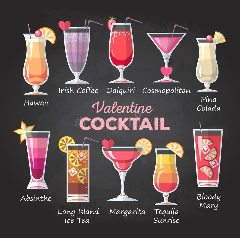 Vlak de cocktailmenu van stijlvalentine royalty-vrije illustratie