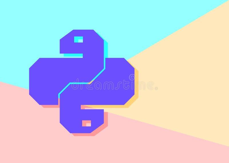 Vlak de codepictogram van de minimalismpastelkleur gekleurd python In slang vectorsymbool voor websiteontwikkeling of knoop aan m royalty-vrije illustratie