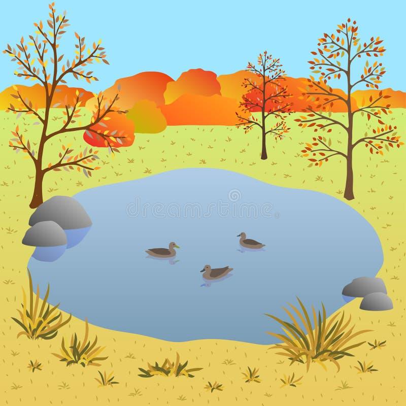 Vlak de herfstlandschap, meer met eenden, vectorillustratie stock illustratie