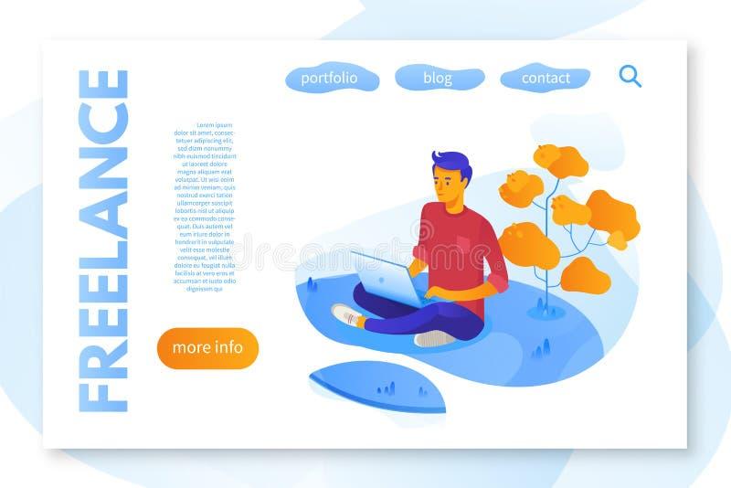Vlak de kleurenmalplaatje van het freelance de dienstlandingspagina stock illustratie