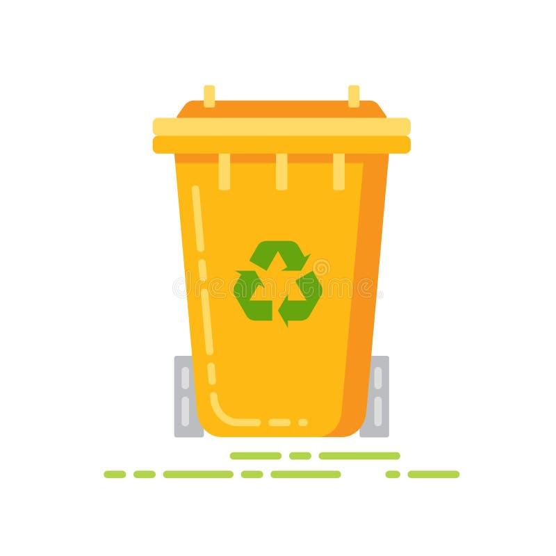 Vlak de kleurenpictogram van de afvalcontainer Teken voor webpagina, mobiele toepassing, banner Ge?soleerd vlak malplaatje vector illustratie