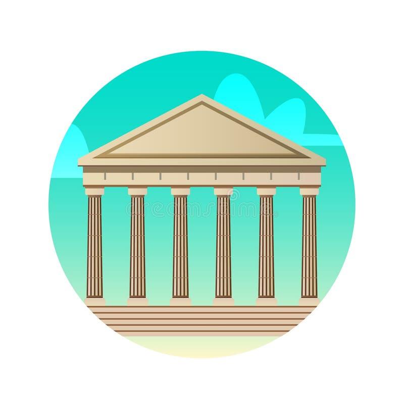 Vlak de kleurenpictogram van architectuurparthenon De historische gezichten van Griekenland, Athene vector illustratie