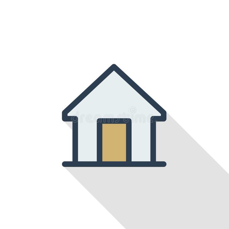 Vlak de kleurenpictogram van de huis dun lijn Lineair vectorsymbool Kleurrijk lang schaduwontwerp royalty-vrije illustratie