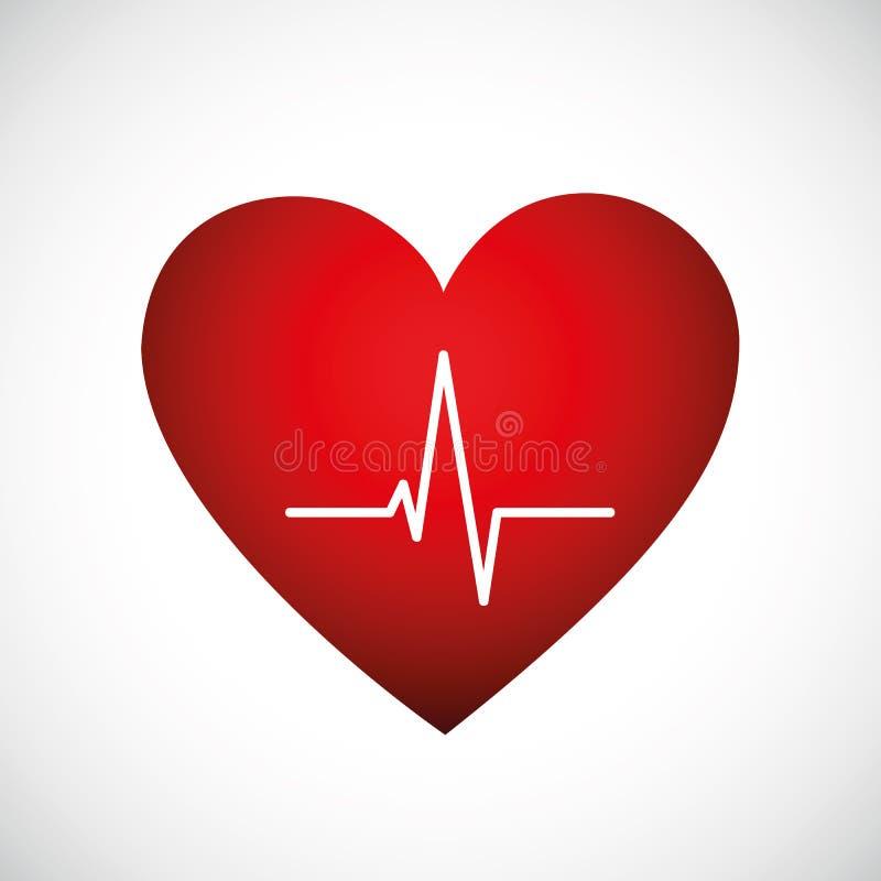 Vlak de lijnencardiogram van de geneeskundehartslag binnen een rood hartpictogram vector illustratie