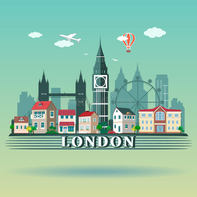 Vlak de stadslandschap van ontwerplonden Moderne gekleurde de stadshorizon van Londen stock illustratie