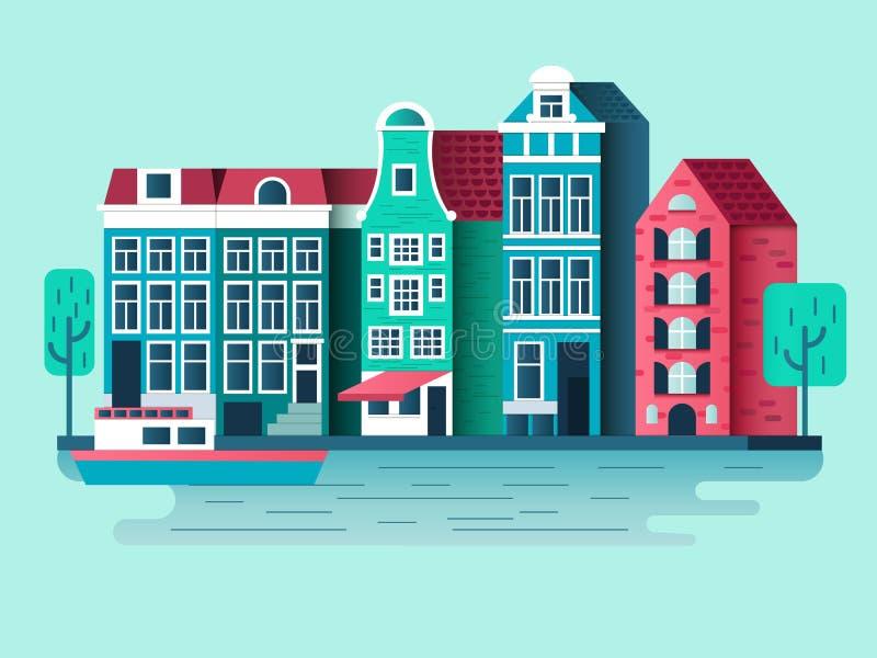 Vlak de stadsontwerp van Amsterdam stock illustratie
