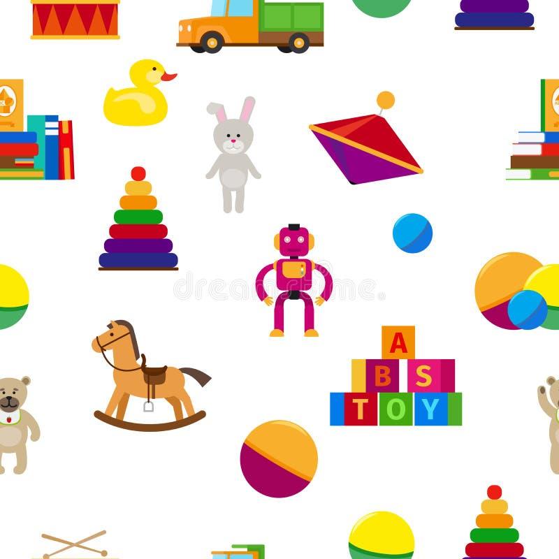 Vlak de stijl naadloos patroon van het jonge geitjesspeelgoed royalty-vrije illustratie