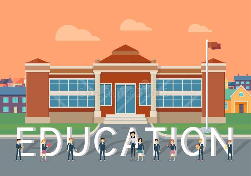 Vlak de Stijl Vectorconcept van het schoolonderwijs stock illustratie