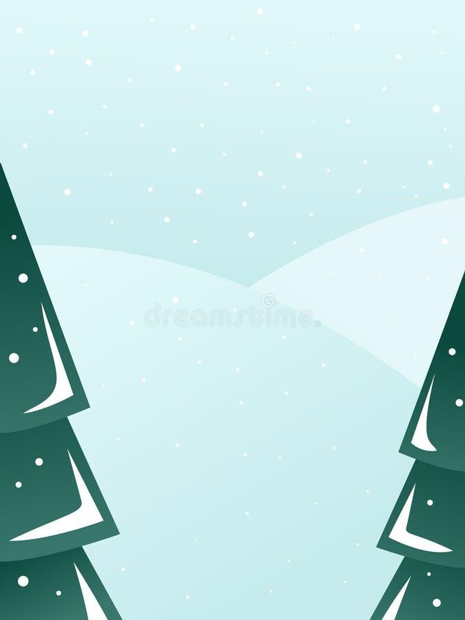 Vlak de winter vectorlandschap met bomen en heuvels royalty-vrije illustratie
