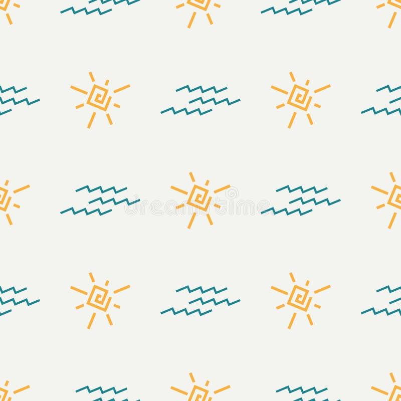 Vlak de zonpatroon van de kleuren vector naadloos zomer Patroon van de stoffen het textielzomer Het leuke patroon van de krabbelz vector illustratie