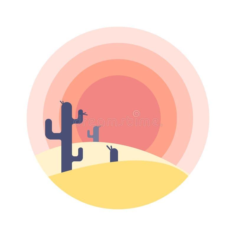 Vlak de zonsonderganglandschap van de beeldverhaalwoestijn met cactussilhouet in cirkel royalty-vrije illustratie