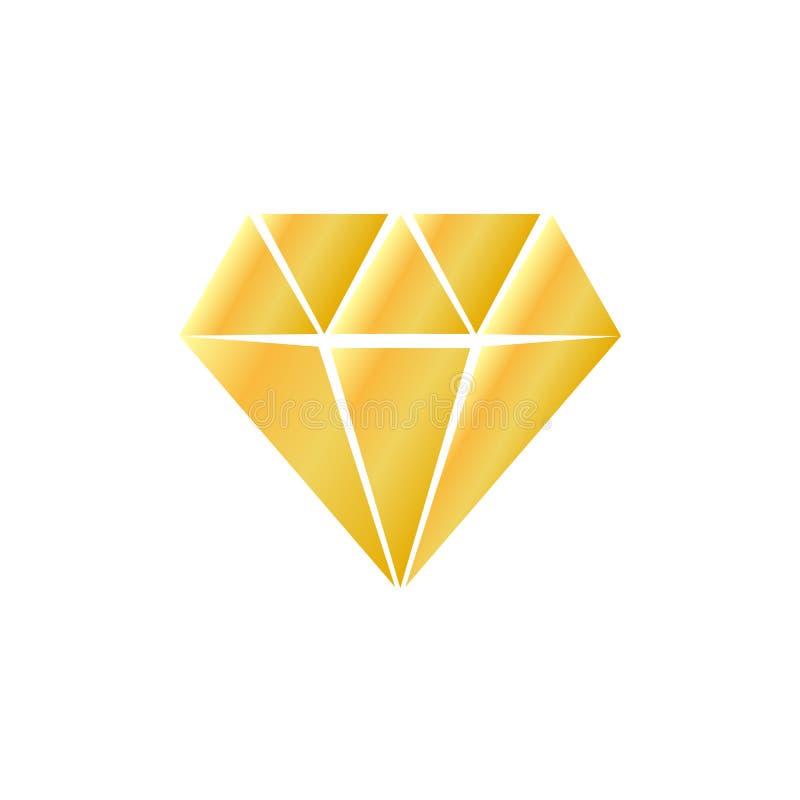 Vlak Diamant gouden pictogram stock illustratie