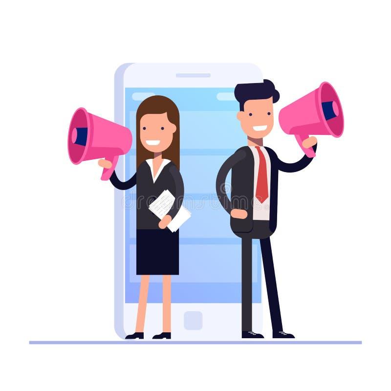 Vlak digitaal marketing concept De zakenman en de Onderneemster spreken in megafoon tegen de achtergrond van mobiel vector illustratie