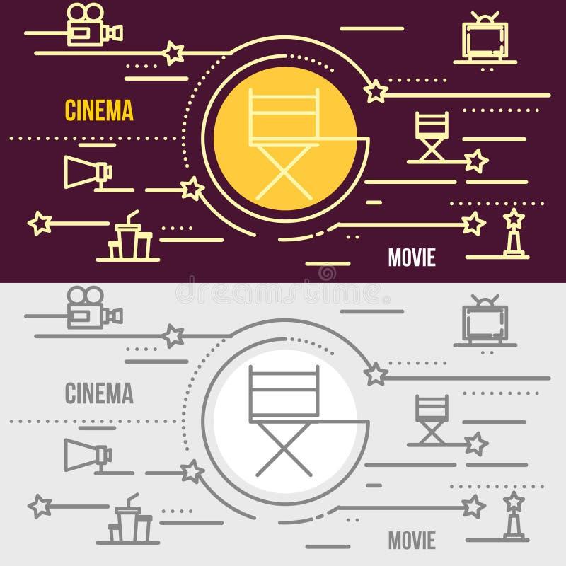 Vlak dun het Webbanner van het lijnontwerp of kaartje van bioskoop, theater royalty-vrije illustratie