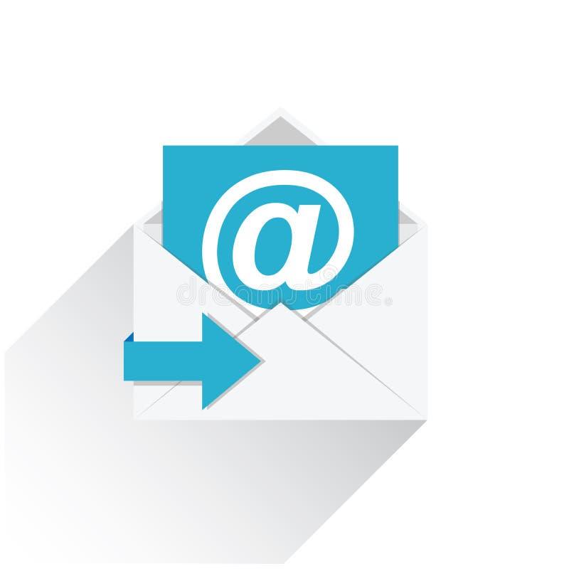 Vlak e-mail vectorpictogram met lange die schaduw op wit wordt geïsoleerd stock illustratie