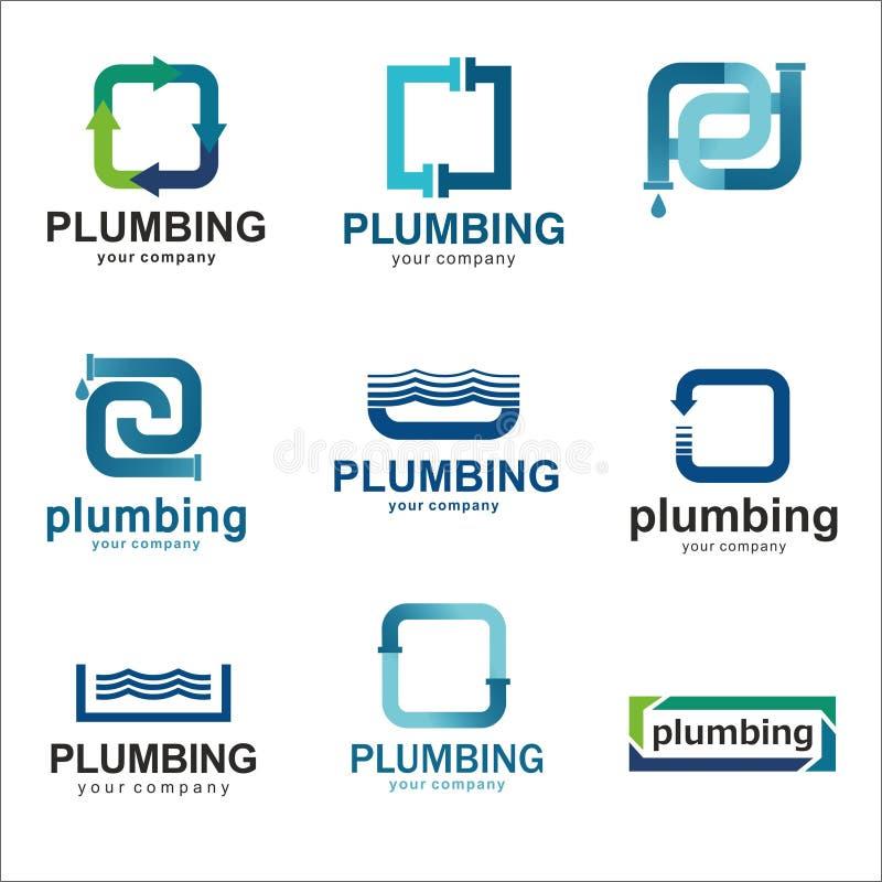 Vlak embleemontwerp voor loodgieterswerkbedrijf Het vectorloodgieterswerk van malplaatjesemblemen met tekst vector illustratie