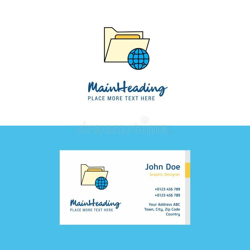Vlak Gedeelde mapembleem en Visitekaartjemalplaatje Busienssconcept Logo Design royalty-vrije illustratie