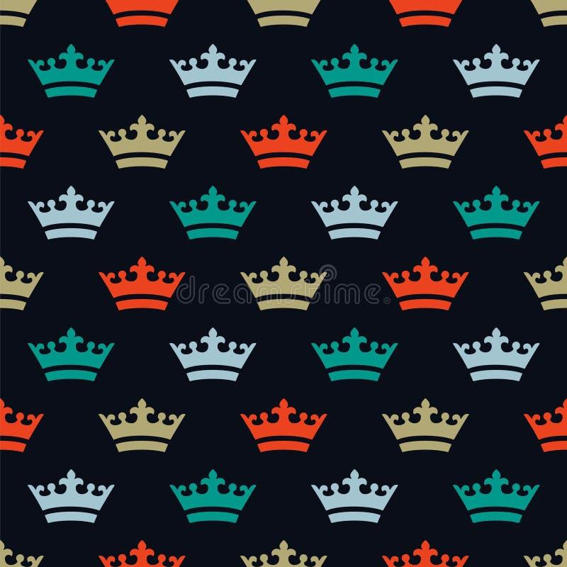 Vlak gekleurde kronen Naadloos patroon voor Nieuwjaar royalty-vrije stock fotografie