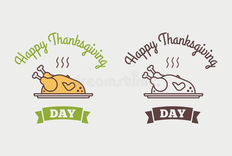 Vlak Gelukkig Thanksgiving day van de ontwerpstijl logotype, kenteken en pictogram royalty-vrije illustratie