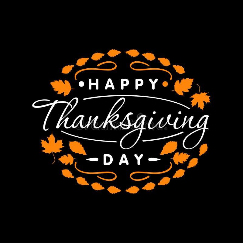 Vlak Gelukkig Thanksgiving day van de ontwerpstijl logotype, kenteken en pictogram Het gelukkige malplaatje van het Thanksgiving  vector illustratie