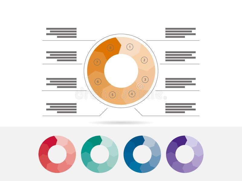 Vlak geometrisch diagrammalplaatje voor uw bedrijfspresentatie met tekstgebieden en pictogrammen royalty-vrije illustratie