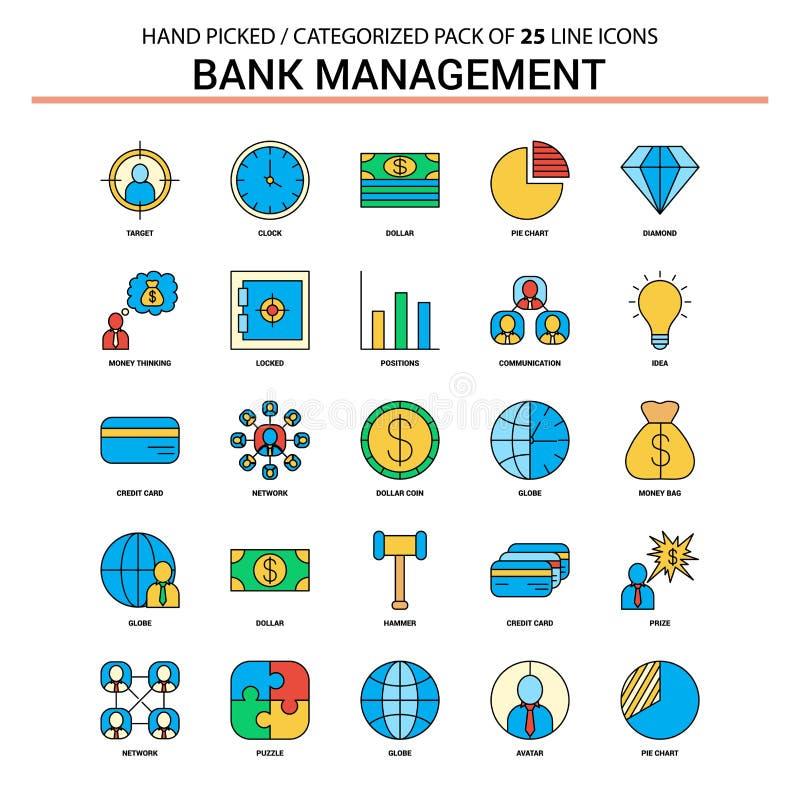 Vlak Geplaatst de Lijnpictogram van het bankbeheer - Bedrijfsconceptenpictogrammen Desi stock illustratie