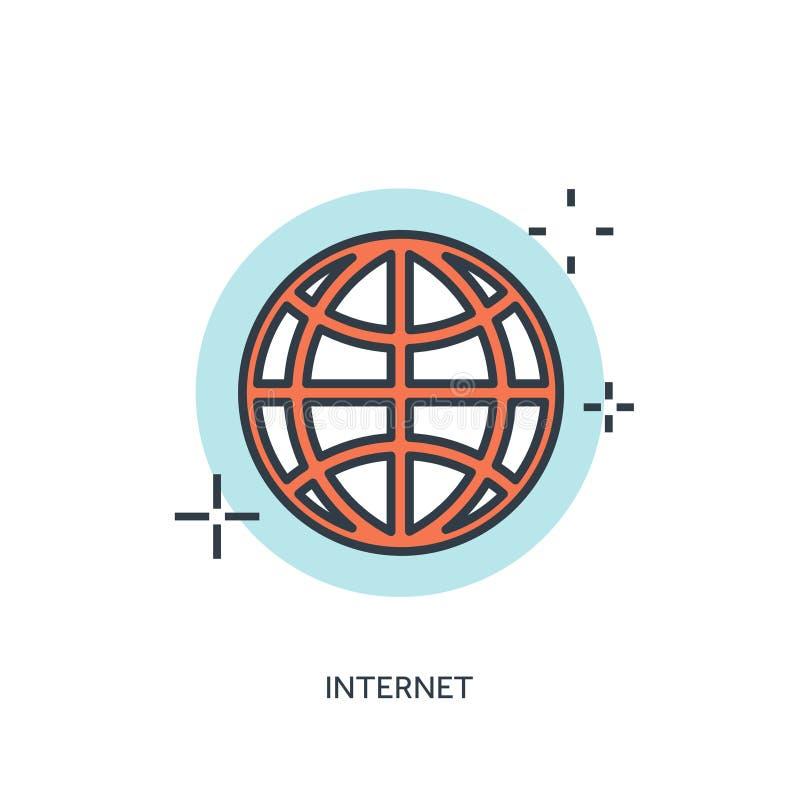 Vlak gevoerd Internet-pictogram www vector illustratie