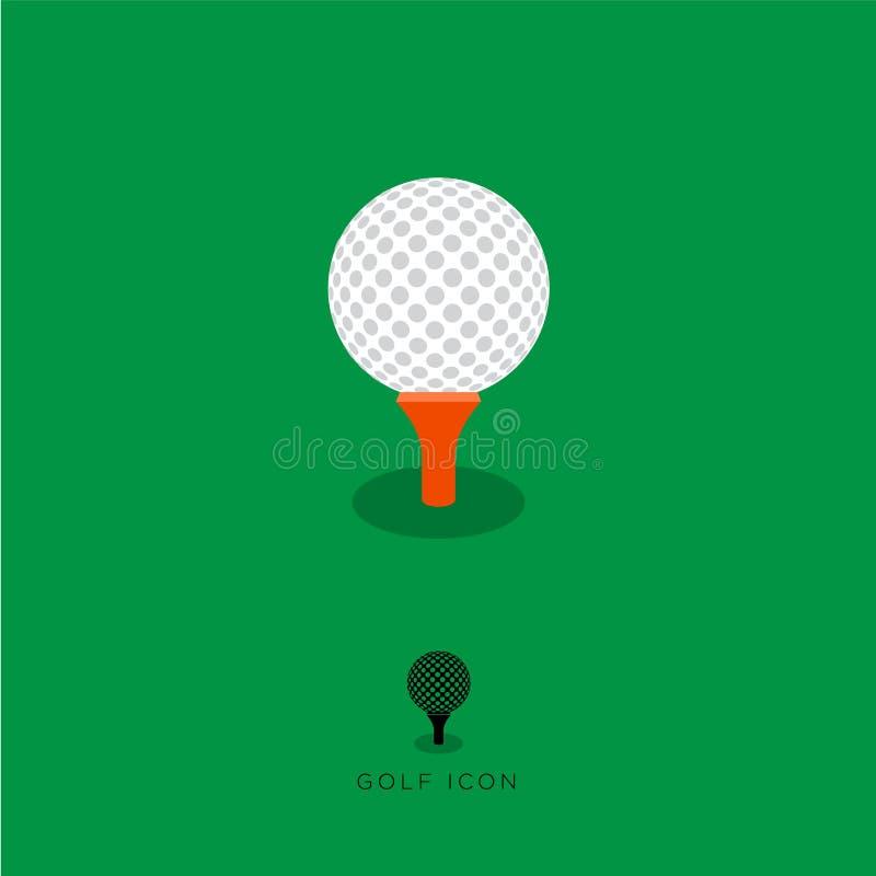 Vlak Golfpictogram, golfkarakters Witte golfbal en rood T-stuk op een groene achtergrond stock illustratie