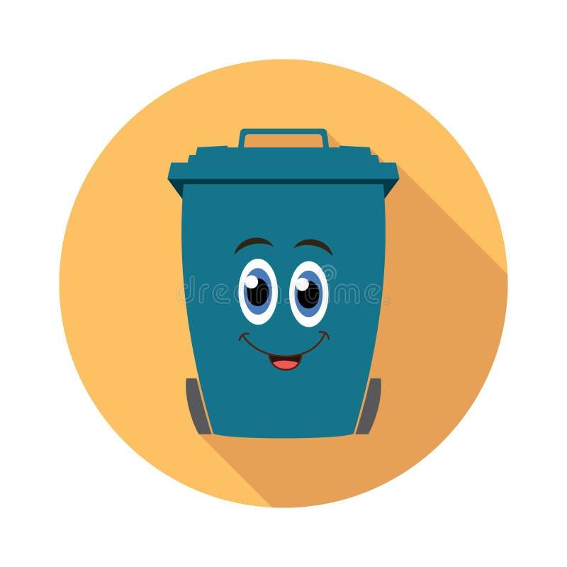 Vlak het beeldverhaalpictogram van de recyclings wheelie bak stock illustratie