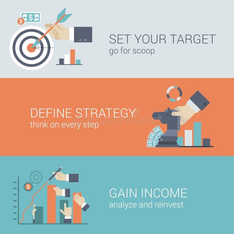 Vlak het doel infographic concept stijl van de bedrijfssuccesstrategie royalty-vrije illustratie