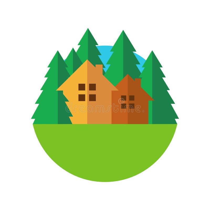 Vlak het huiskenteken van stijleco met bomen Vectorembleemmalplaatje des royalty-vrije illustratie