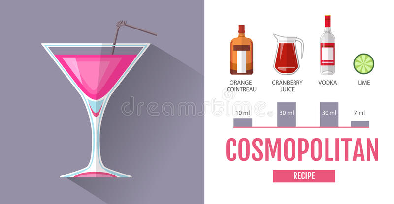 Vlak het menuontwerp van de stijlcocktail Cocktail kosmopolitisch recept stock illustratie