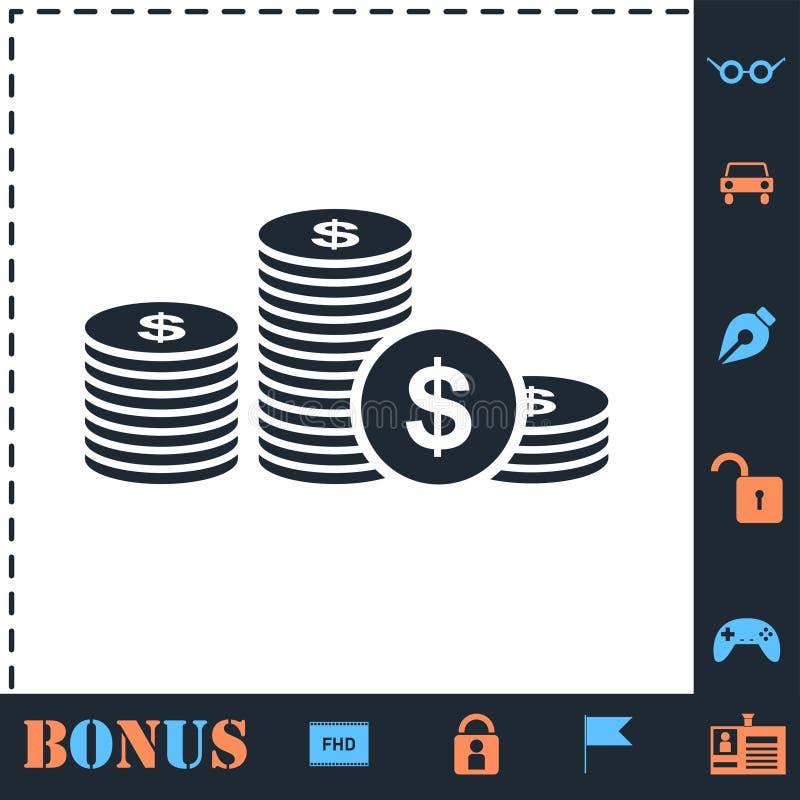 Vlak het muntstukpictogram van het dollarsgeld royalty-vrije illustratie