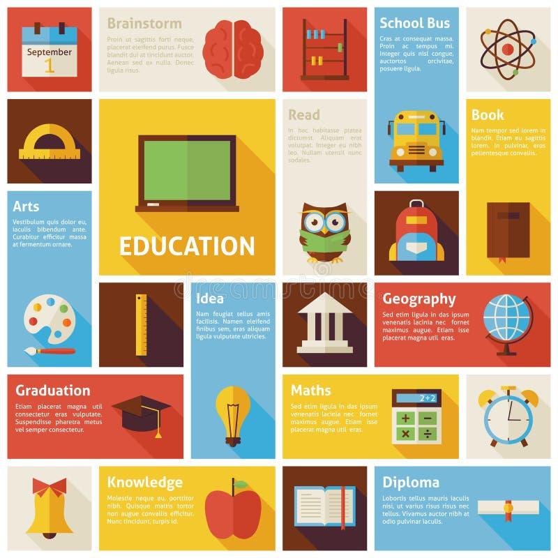 Vlak het Onderwijsconcept van Infographic van Ontwerp Vectorpictogrammen vector illustratie