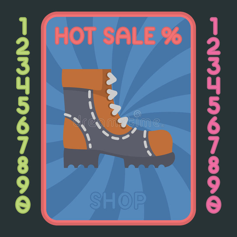 Vlak het ontwerppictogram van de leerlaars Vector heet verkoopetiket royalty-vrije illustratie
