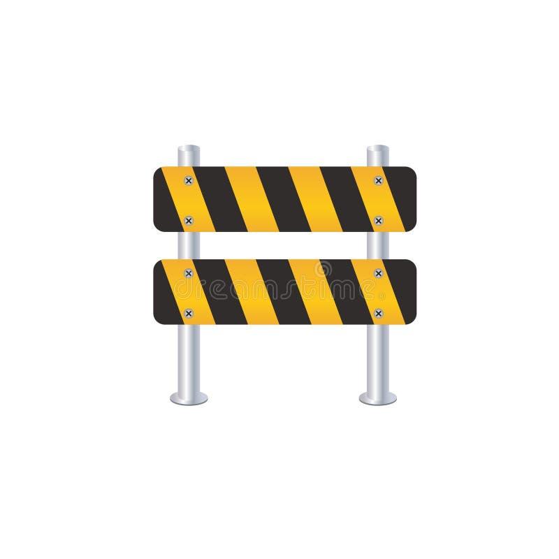 Vlak het pictogram kleurrijk silhouet van de verkeersomheining met halve schaduw vectorillustratie stock illustratie