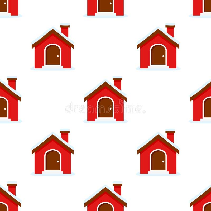 Vlak het Pictogram Naadloos Patroon van het Kerstmishuis stock illustratie