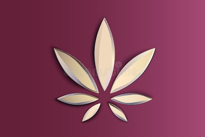 Vlak het symbool of het embleemontwerp van het modieuze de hennepblad van de cannabismarihuana Cannabisembleem op roze achtergron vector illustratie
