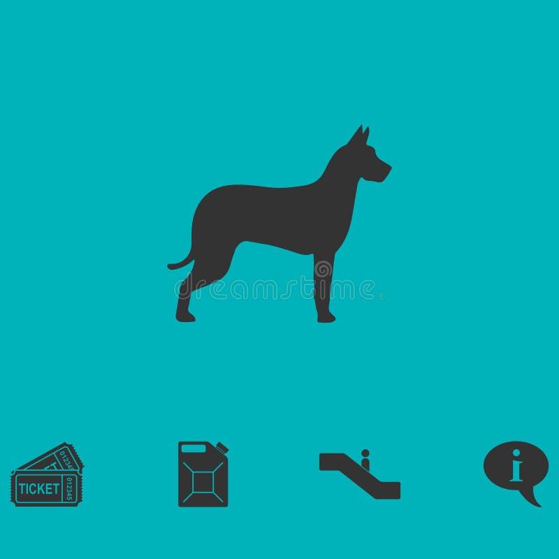 Vlak hondpictogram stock illustratie